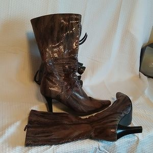 Aspostrophe Faux 🐍 Snakeskin print mid-calf boots